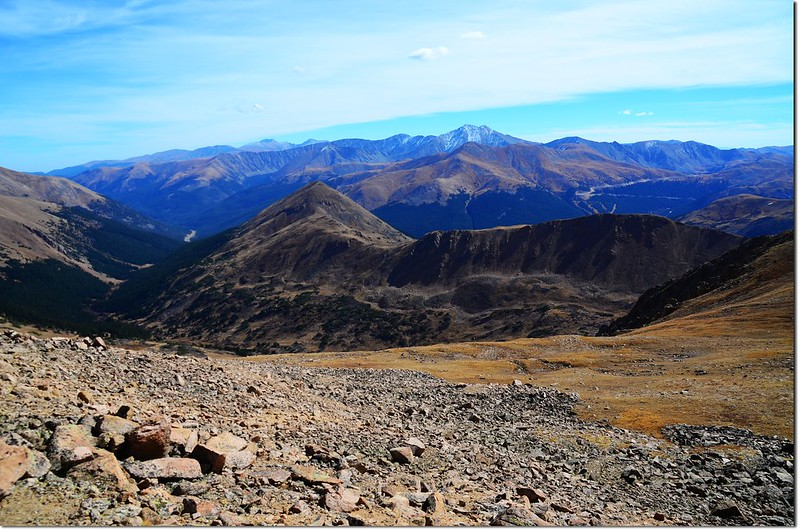 Looking down onto Mount Bethel from Pettingell's south slopes, Grays,Torreys and Mount Evans are in the distance