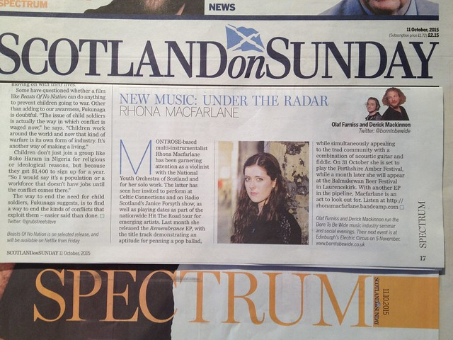 Olaf Furniss and Derick Mackinnon, Scotland On Sunday, Spectrum Magazine, 11 October 2015, Rhona Macfarlane
