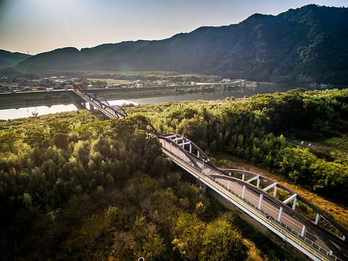 road bridge autumn mountain field japan sunrise river landscape scenery rice natural asahi outdoor harvest aerial freeway 日本 秋 自然 山 風景 okayama 橋 景色 川 岡山 日の出 稲 phantom3 朝日 田 収穫 dji 河川 photones