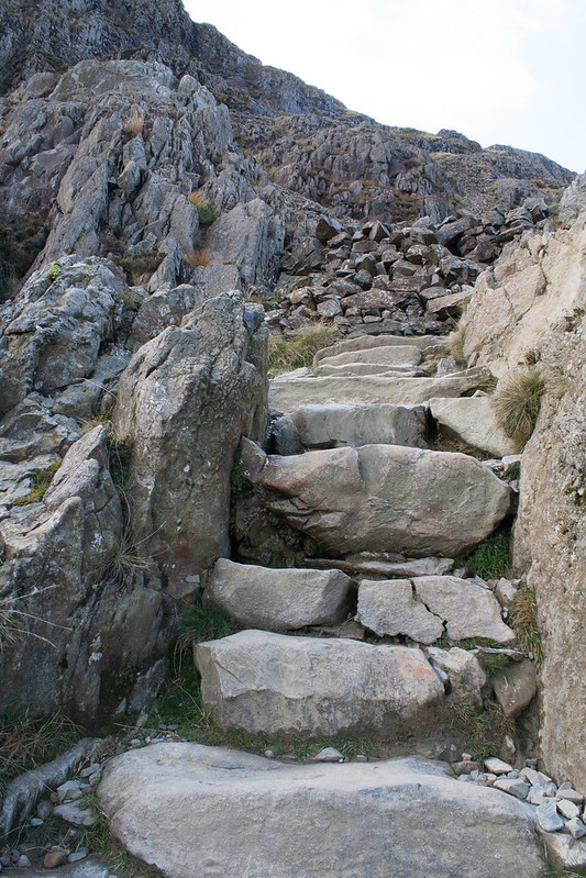 Steps on the Pyg track Mount Snowdon