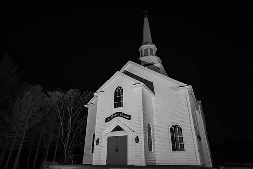 ca longexposure blackandwhite canada church monochrome night novascotia capebreton eastbay stmaryschurch stmarys brasdor capebretonisland novascotiatrunk4