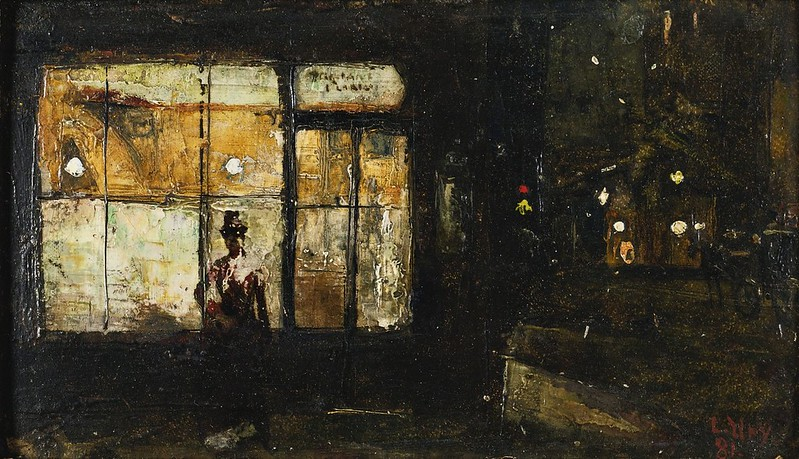 Lesser Ury - Parisian Boulevard at Night (c.1880)