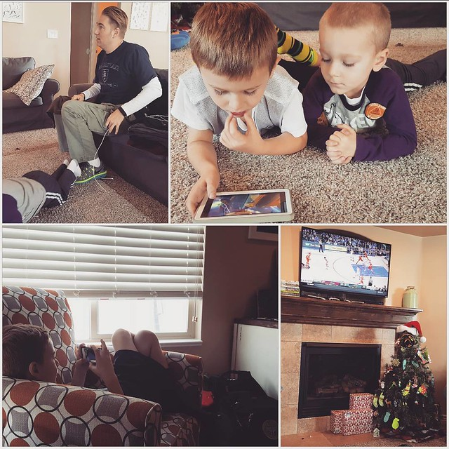 Watching basketball, before we go and play basketball.  This is a reason I like boys.  #goutes #beatduke #ihatechristianlaetner #butithinkheshandsome