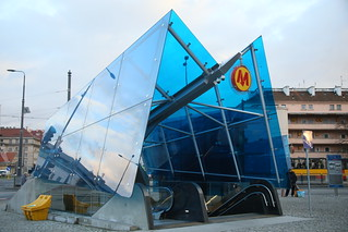 The funky Warsaw metro station entrances which you'll see in different colours