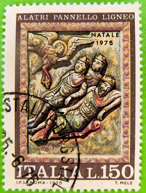 beautiful xmas stamp Italy 150L Annunciation to three wise men (Verkündigung Geburt Christi; Holzpanele Kathedrale von Alatri (15.Jh.), wood panel cathedral of Alatri 15th century) selo natale porto Repvbblica Italiana bollo sellos Italija markica 义大利 邮票