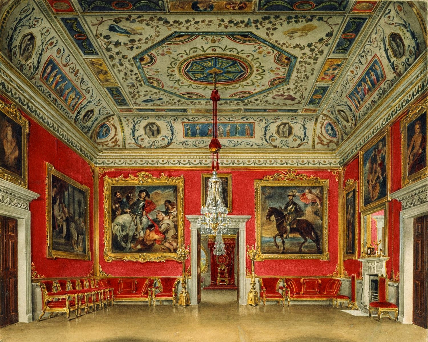 A view of the Crimson Drawing Room at Buckingham House