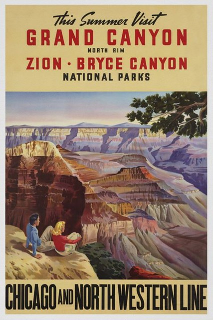 Vintage Poster; Visit Grand Canyon North Rim; Zion, Bryce Canyon Nathional Parks