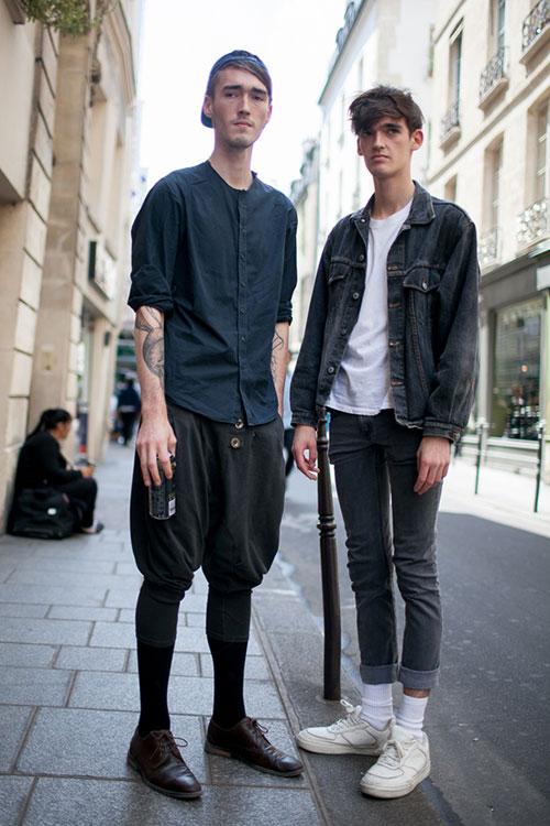 ノーカラーシャツ×ニッカポッカ&Gジャン×デニムパンツ