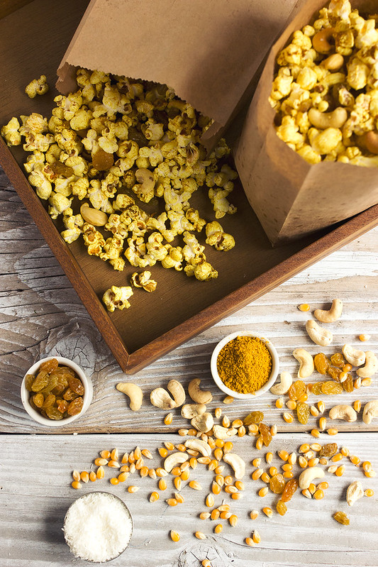 Curry Popcorn Snack Mix - Tasty Yummies