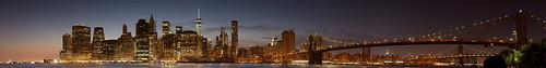 Statue of Liberty, Manhattan, Brooklyn Bridge, Empire State Building, Chrysler Building, and Manhattan Bridge, 180 degree panorama, Blue hour [Explored]
