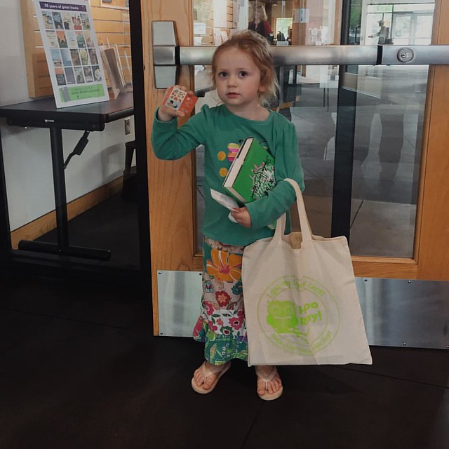 "Official Library Card Holder! Molly got her first library card as part of the Seattle Library ""My First Library Card"" program along with a tote bag. #100daysofsummer2015"