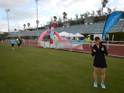 Mei by the finish line at the Bermuda 10k