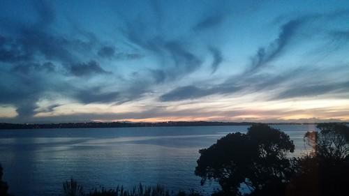 ocean sunset sea newzealand sky sun colour water beautiful clouds dark evening amazing view harbour estuary auckland beachlands pohutukawacoast