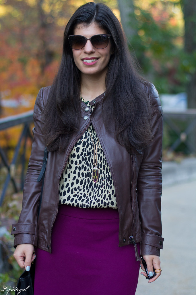 purple pencil skirt, leopard blouse, leather jacket-7.jpg
