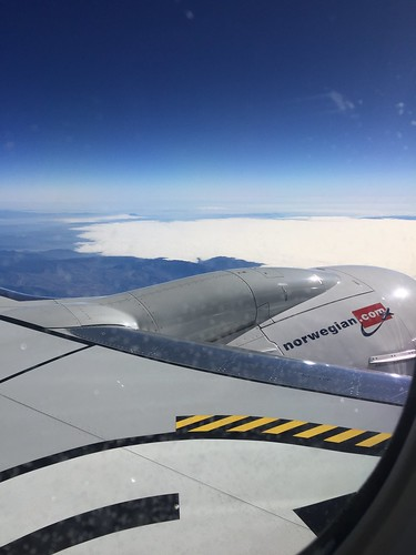 View from window at aeroplane from Norwegian Air Shuttle