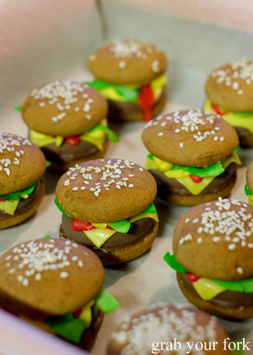 Hamburger cookies at the Sydney Food Bloggers Christmas Party 2015 #sydfbxmas2015