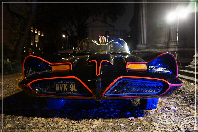 The Establishing Shot: CHARACTER CARS 1966 BATMOBILE (FRONT) AT THE ROGUES GALLERY - CREATION OF A SUPER-VILLAIN BOOK LAUNCH @ THE CRYPT GALLERY, LONDON - OCT 2015