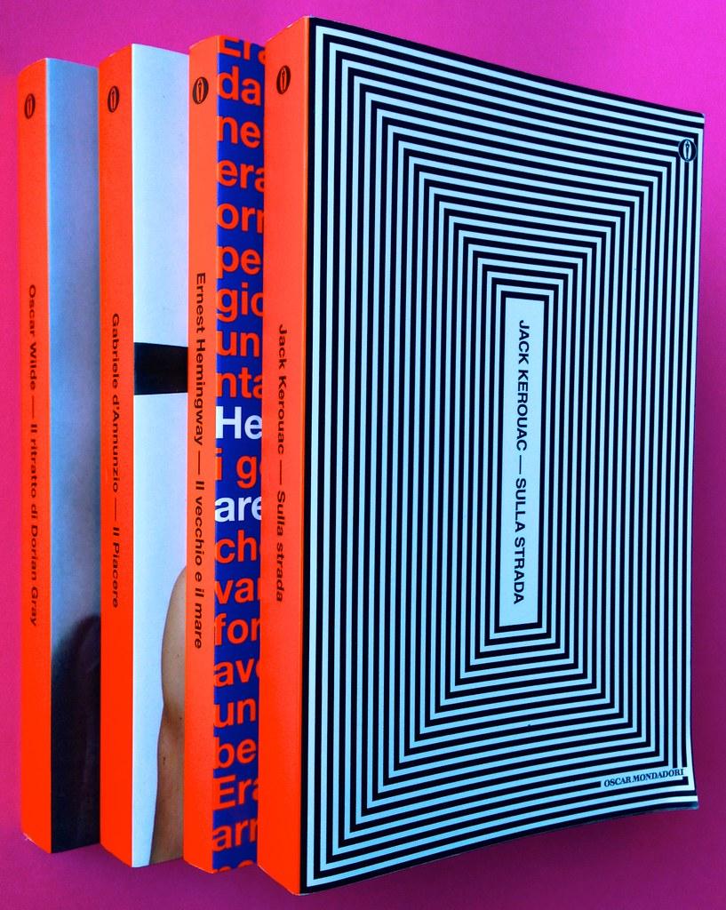 Oscar Mondadori / ied: edizione speciale di 10 titoli per i 50 anni degli Oscar. Art direction: Giacomo Callo. Dorsi, copertine di 4 titoli (part.) 1