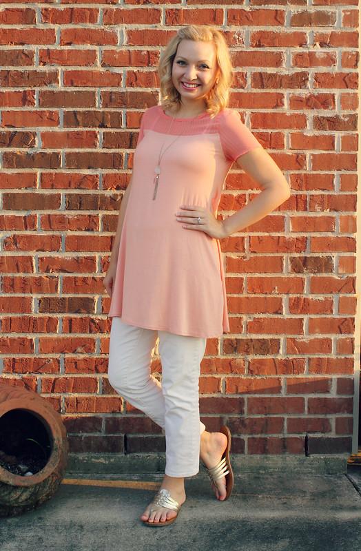 pink blush maternity tunic