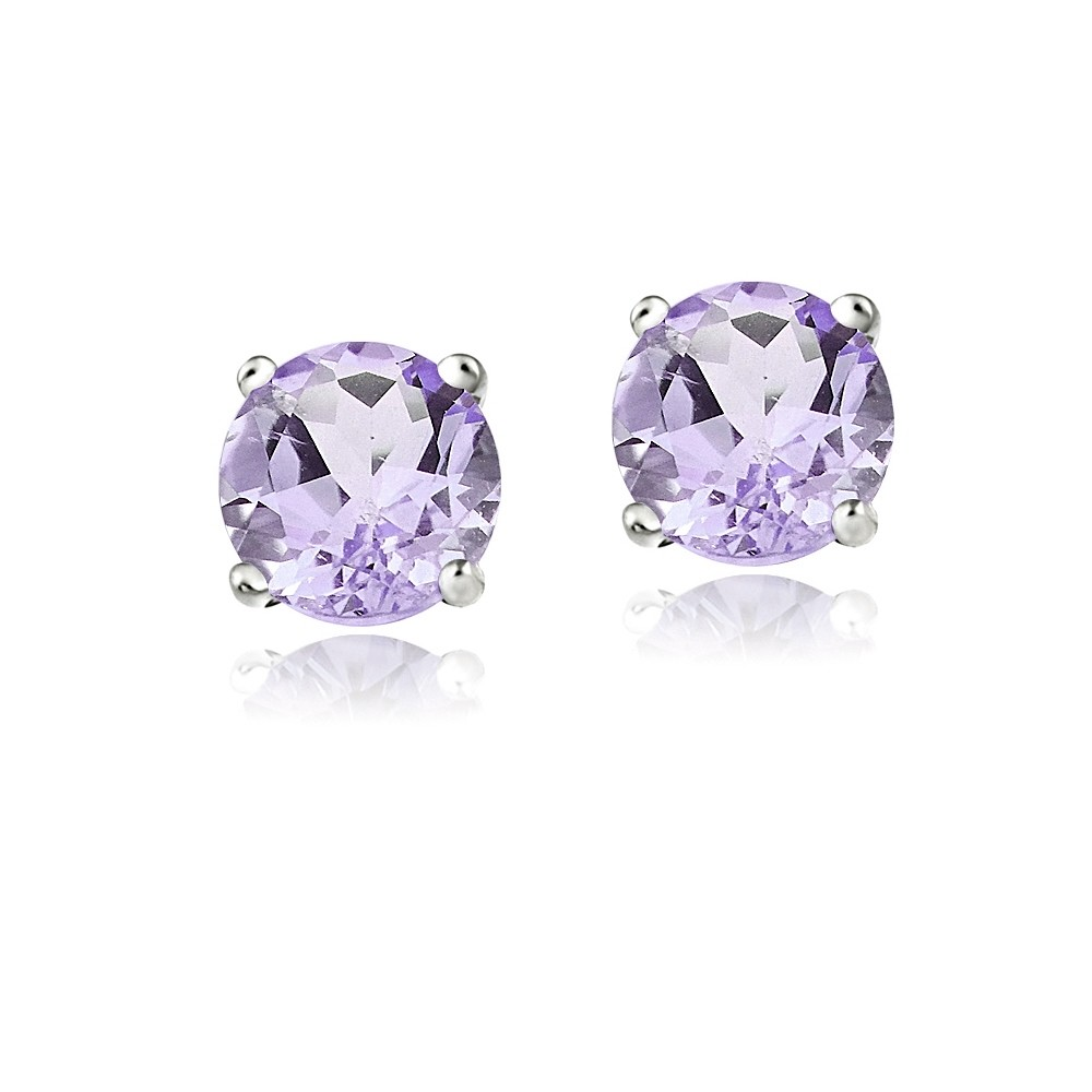 14k white gold amethyst round stud earrings ebay. Black Bedroom Furniture Sets. Home Design Ideas