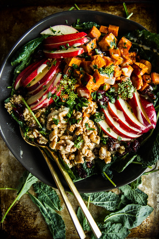 Spiced Apple Cider + Sweet Potato Quinoa Bowls -- a seasonal and delicious way to sneak some plant-based protein into your meal!