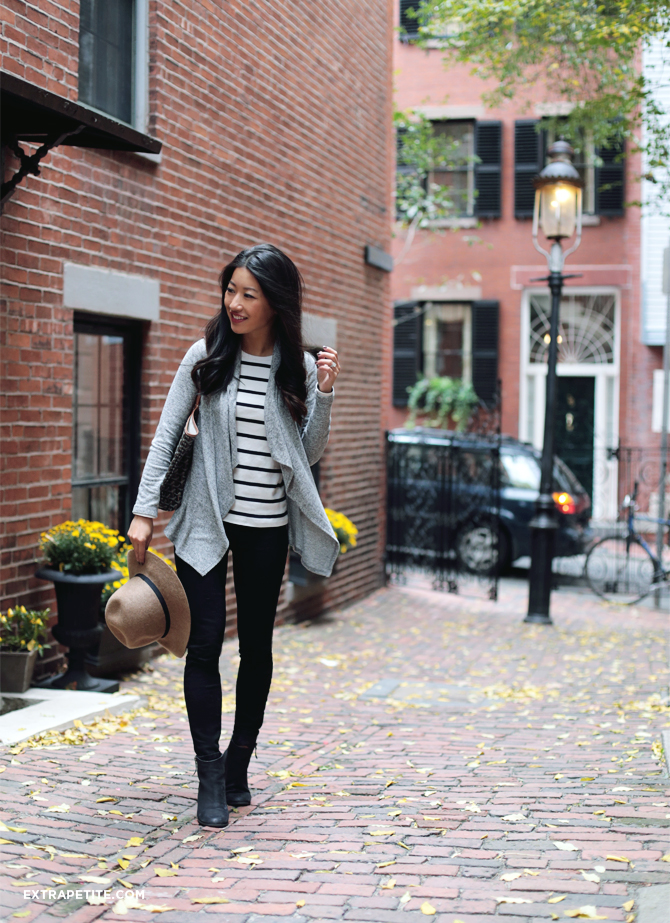 black jeans grey sweater fall outfit