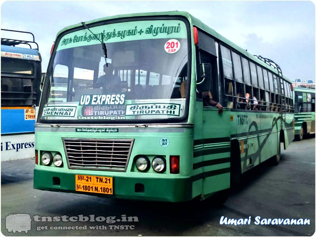 TN-21N-1801 of Tambaram Depot Route Chennai - Tirupathi via Poonamallee, Tiruvallur, Thiruthani, Puttur.