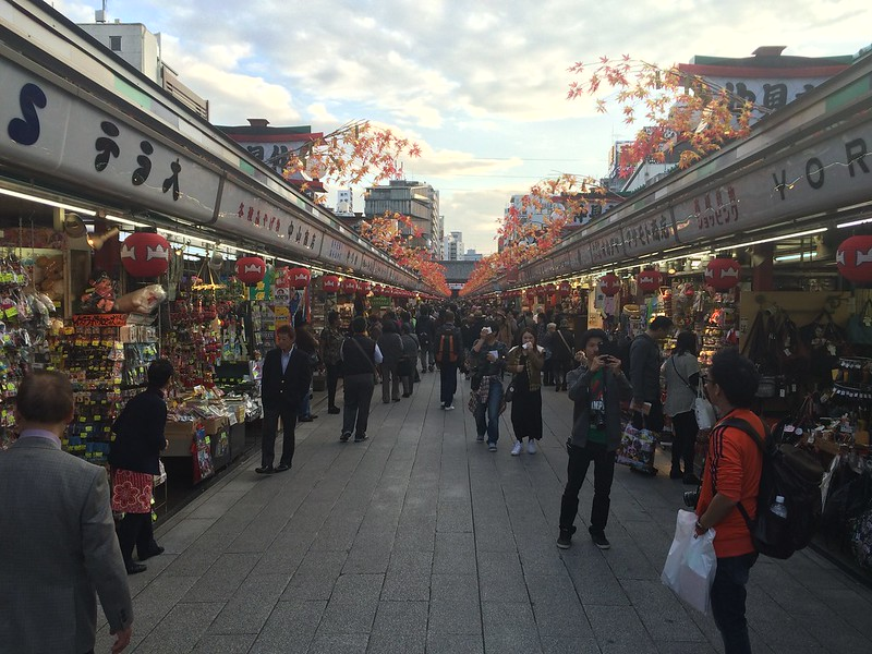 Looking down the shops at Asakusa
