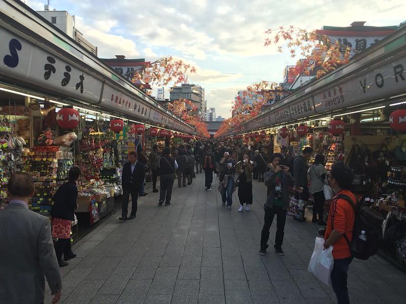 Looking down the shops at Asakusa