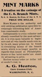 Mint Marks ad Numismatist 1899 November p252