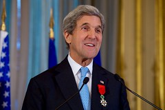 U.S. Secretary of State John Kerry delivers his thanks after French Foreign Minister Jean-Marc Ayrault awarded him the Grand Officer of the Légion d'honneur, the second-highest level of the French award, during a ceremony on December 10, 2016, at the Quai d'Orsay - the French Foreign Ministry - in Paris, France. [State Department Photo/ Public Domain]