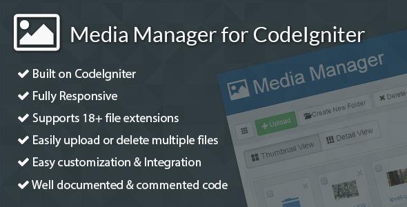 Media Manager for CodeIgniter