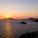 Solnedgang over havet ved Poseidons tempel ved Lavrio stående by jonarnefoss2013
