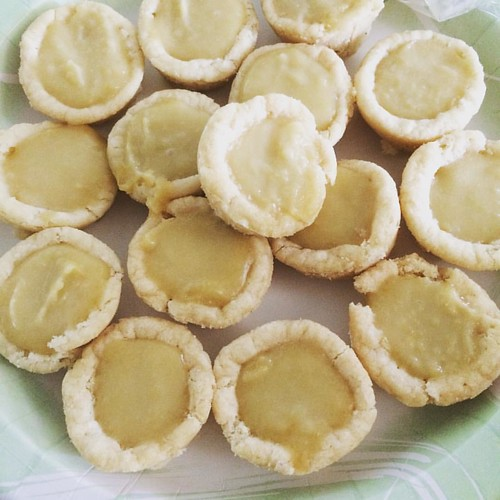 Lots of leftover curd so I made mini tarts with Pillsbury sugar cookie dough.