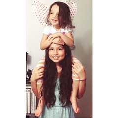 """""""Emma is the queen, and I\'m a fairy #hairdresser."""" Got it, kid. #sisters #summer2015 #love #Emstagram"""