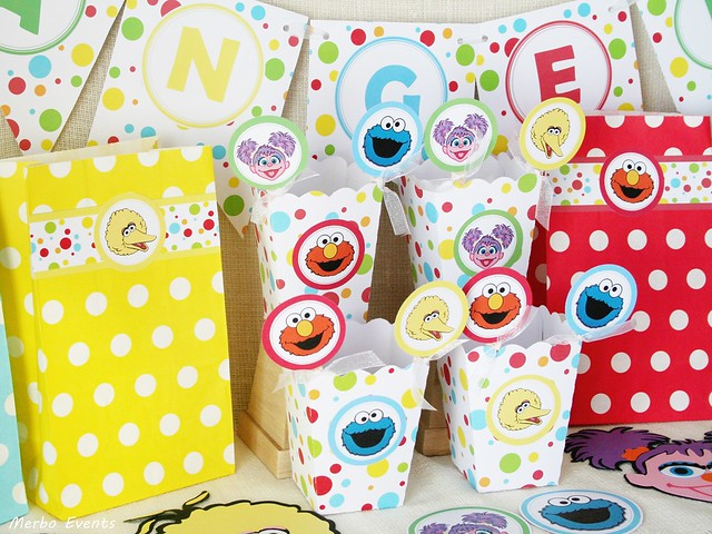 mesa dulce para cumpleaños Sesamo Street Merbo Events