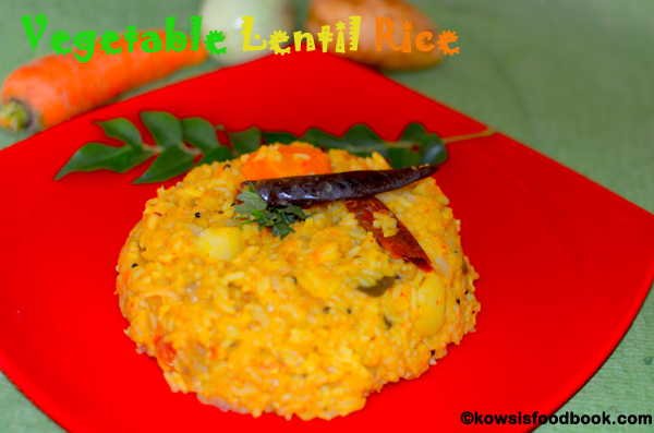 Lentil rice with vegetables kaikari paruppu sadham lunchbox lentil rice with vegetables forumfinder Image collections