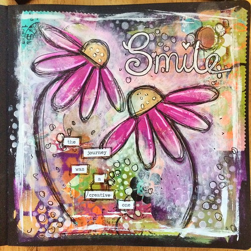 Art journal page in the new dylusions black journal with dylusions paints