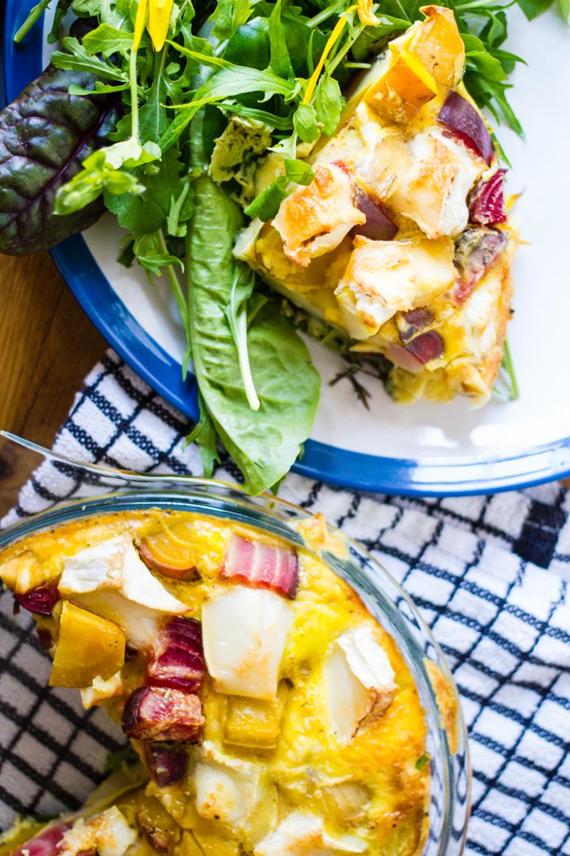 bright beet + parsnip chèvre frittata