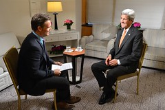 U.S. Secretary of State John Kerry participates in an interview with Amaro Gomez-Pablos of Televisión Nacional de Chile in New York City on October 2, 2015. [State Department photo/ Public Domain]
