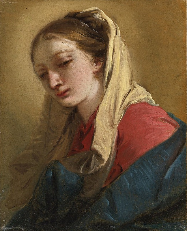 Giovanni Battista Tiepolo - Mary Magdalene in three-quarter view, veiled in a white cloth