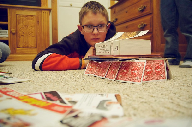 day 4165 - 330/365. odin demonstrates his advanced card house building skills.
