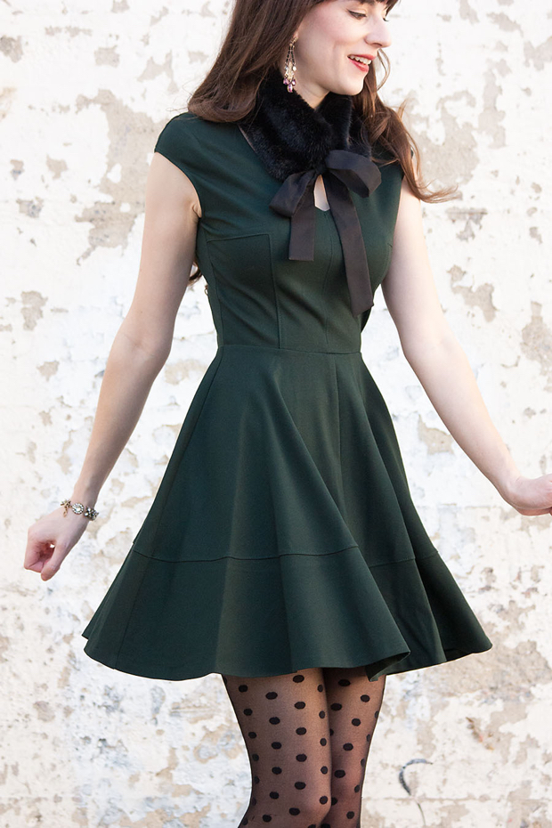 Fur Collar, Christmas Dress, Polka Dots Tights, Fit and Flare Bar III dress