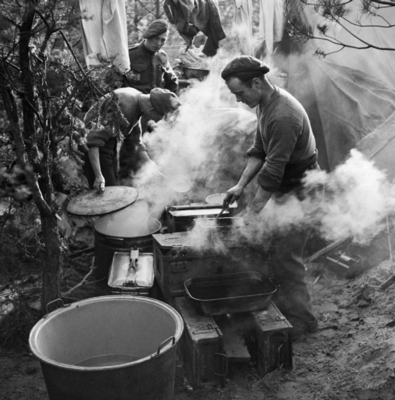Royal Artillery cooks preparing Christmas dinner near Geilenkirchen, Germany, 25 December 1944