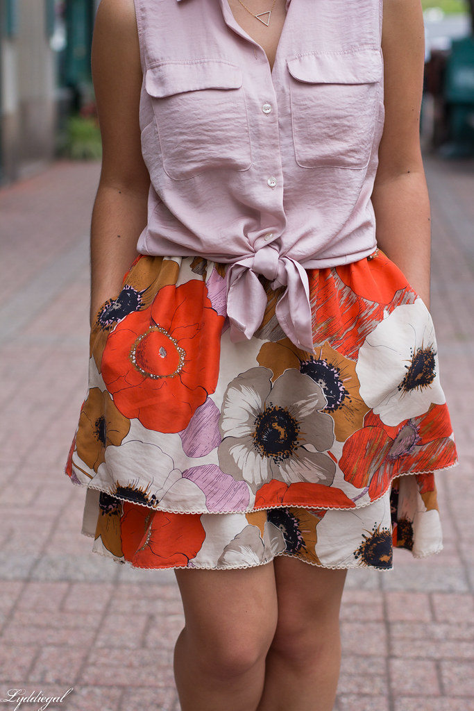 floral skirt, knotted button down, brown bag-5.jpg