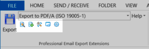 Screen shot showing the quick access functions in the MessageExport toolbar for MS Outlook 2013.
