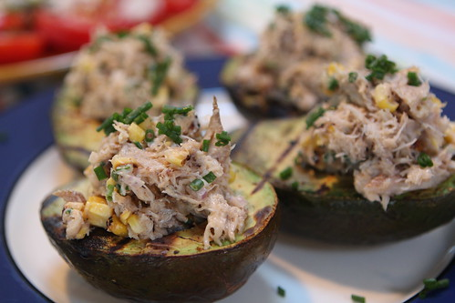 Grilled Avocado with Sriracha Crab Corn Salad