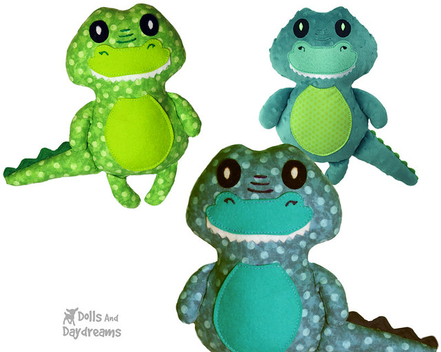 Crocodile Sewing Pattern Croc Softie DIY Alligator plushie gator