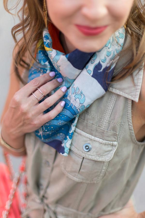 Styling a silk neck scarf