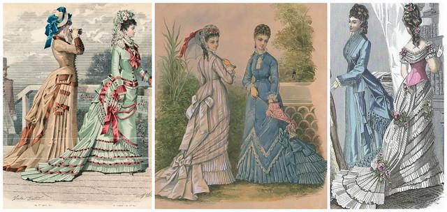 Robes avec poches décoratives, années 1870